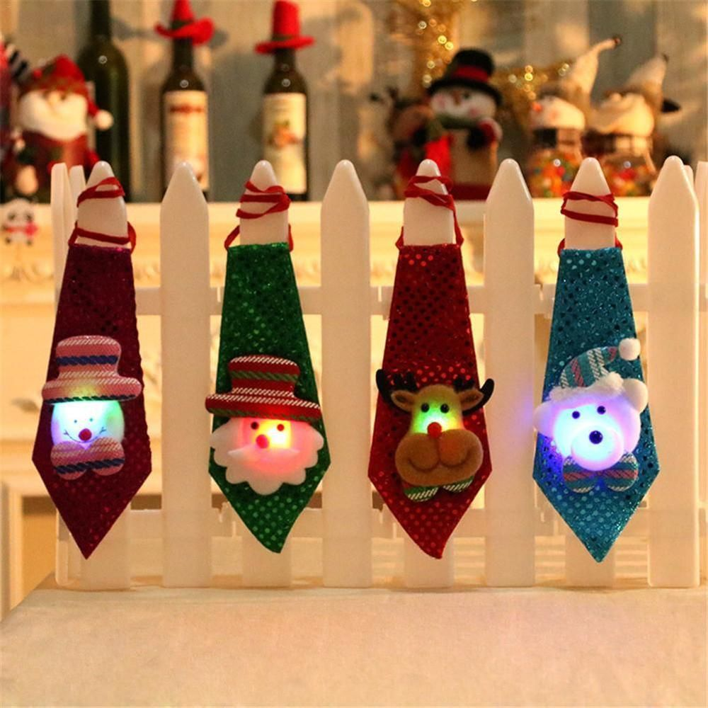 Christmas Necktie Boys Party Bow Tie Xmas Hanging Gift Kids LED Sequin Light Up