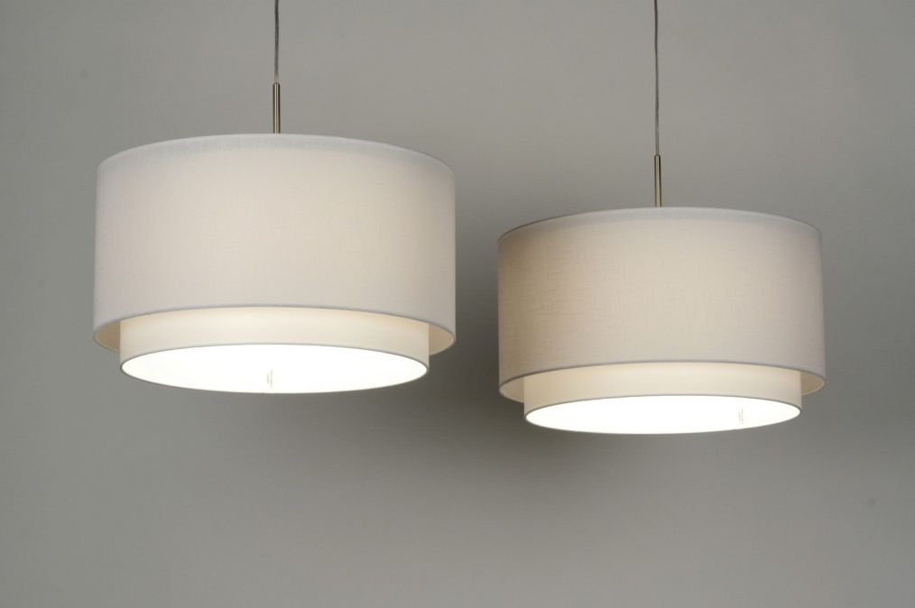 Hanglamp Slaapkamer Wit : Hanglamp modern staal rvs stof wit rond langwerpig