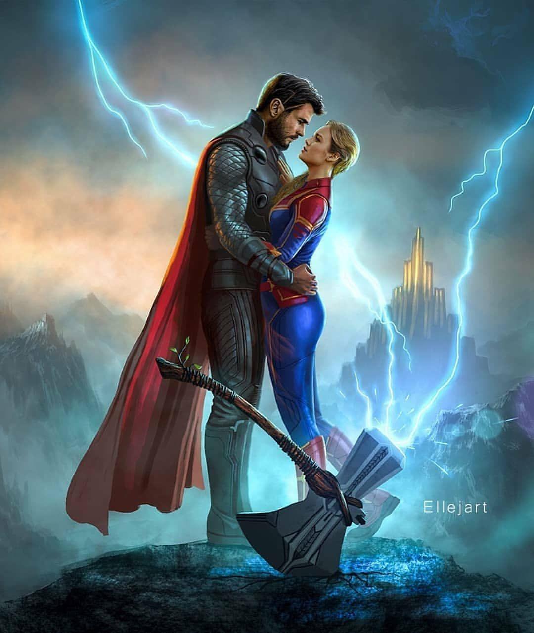 1 Or 2 Art By Ellejart Thor Fatthor Captainmarvel Endgame Avengersendgame Fanart Ell Captain Marvel Marvel Superhero Posters Marvel Comic Universe Trends for thor and captain marvel love