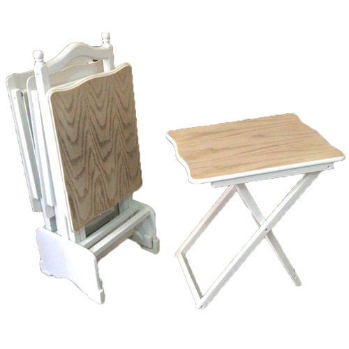 تسوق Thewoodenart طقم شنطة اربع ترابيزات خشب مع حامل خشبي اللون اوف وايت ذا وودن ارت جوميا مصر Wooden Tables Table Settings Wooden