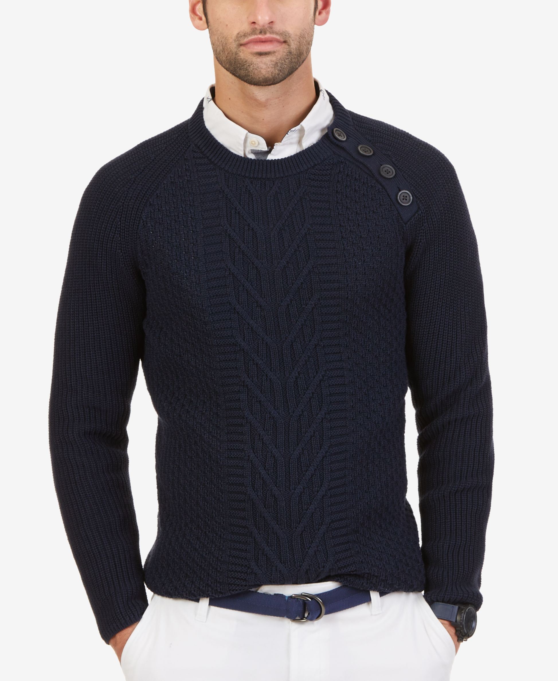 Nautica Men's Cable-Knit Buttoned Crew Sweater | Mens Fashion ...