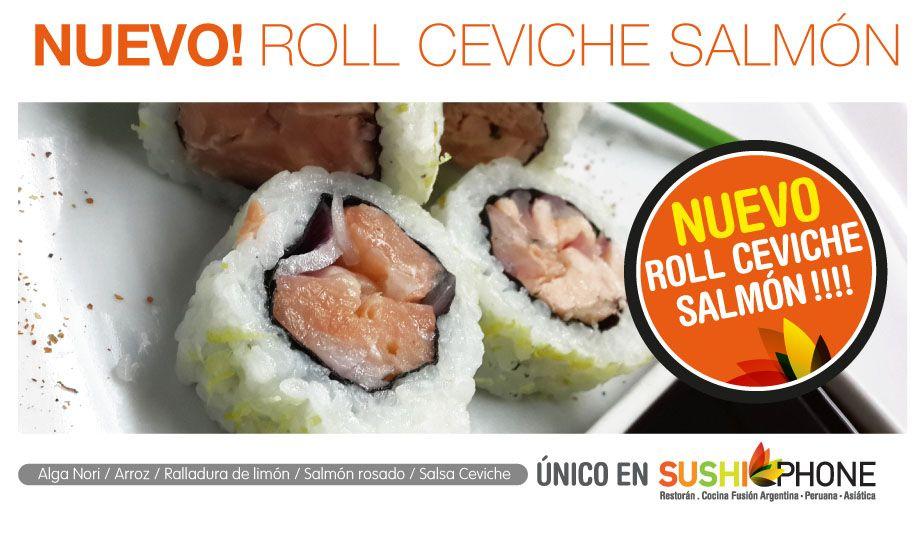Nuevo roll de ceviche salmon , exclusivo de SushiPhone , pedilo !!!! 0810 345 7874
