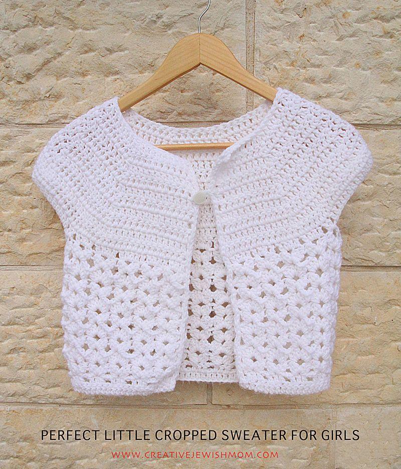 Crocheted Cropped Sweater For Girls | Crochet | Pinterest | Tejido ...