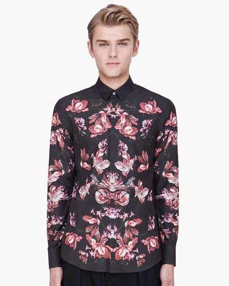 Designer Spotlight: Magnificent Alexander McQueen Shirts. Floral Print on Charcoal Shirt. More Fashion Trends @ rickysturn/mens-fashion