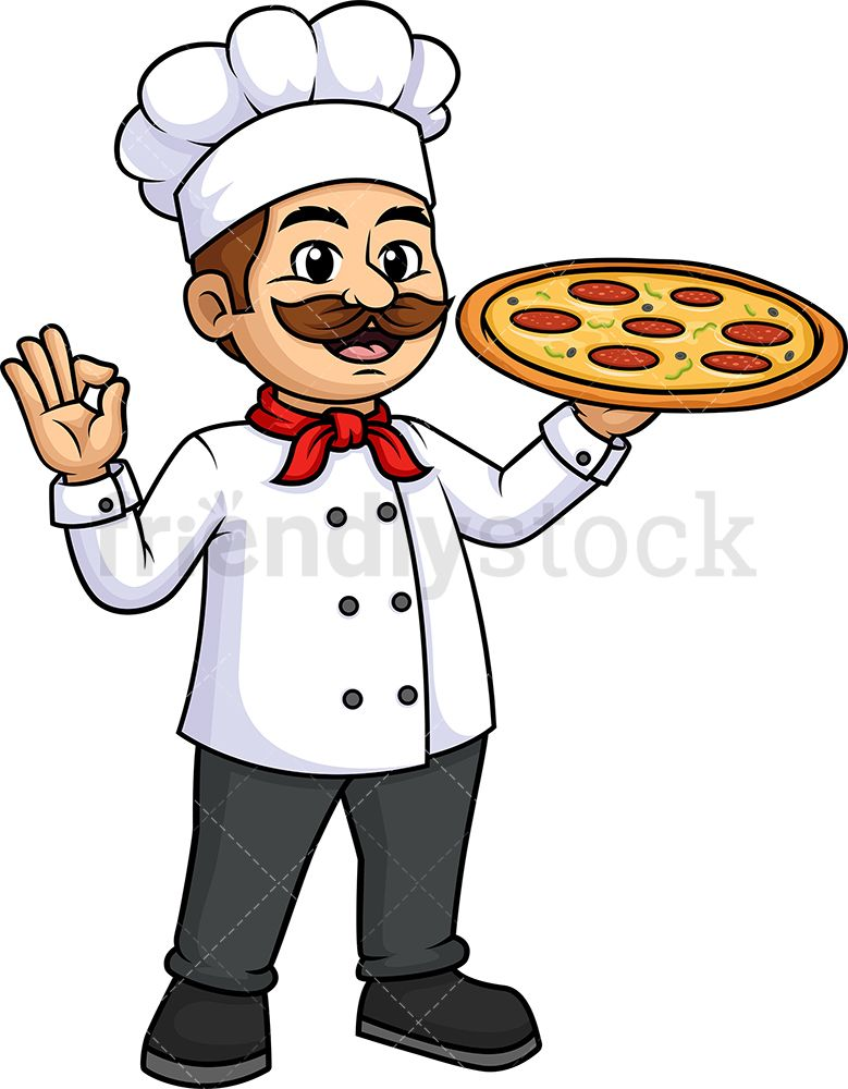 Male Chef Holding Pizza Cartoon Clipart Vector Friendlystock Cartoon Clip Art Cartoon Clip Art