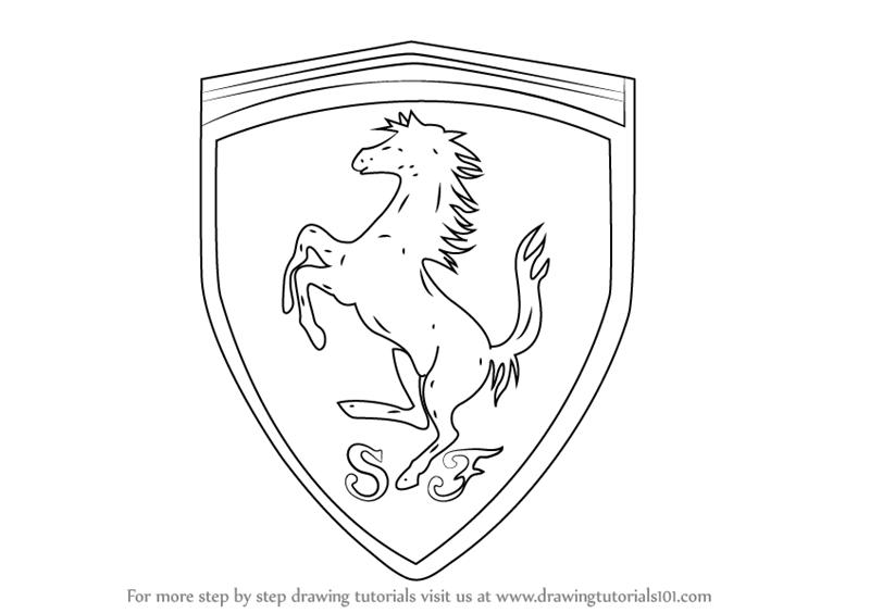 Learn How To Draw Ferrari Logo Brand Logos Step By Step Drawing Tutorials Cool Car Drawings Drawings Ferrari