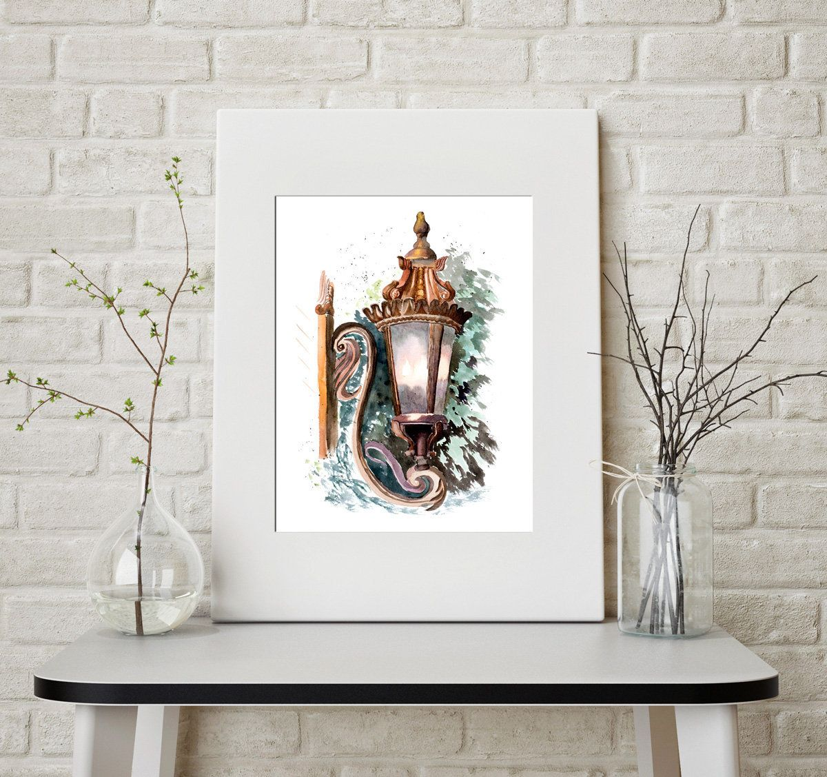 Urban art Print Lantern painting Street lamp Lighting fixtures ...