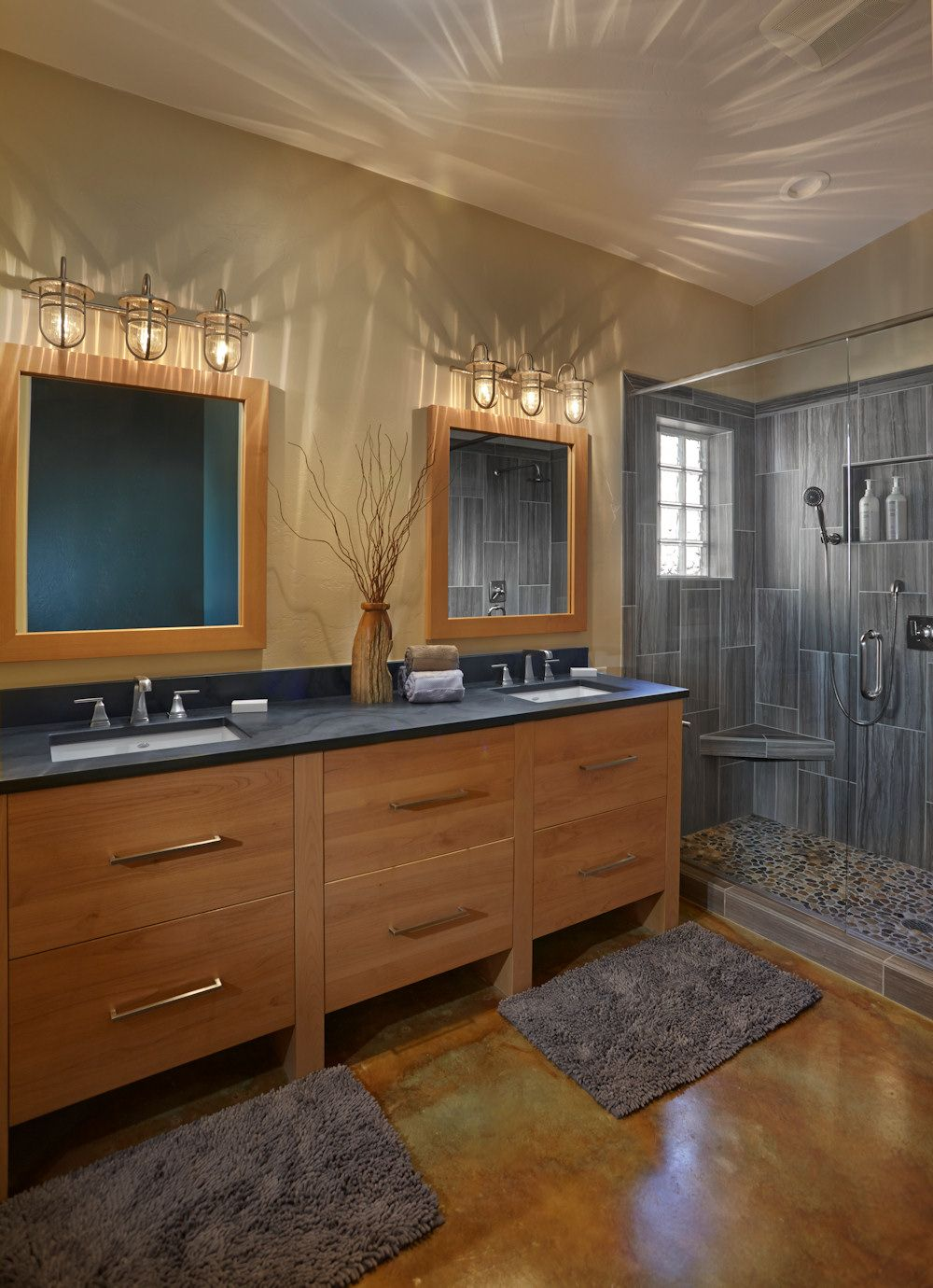 modern and rustic master bath cabinet by pacific crest cabinets door style