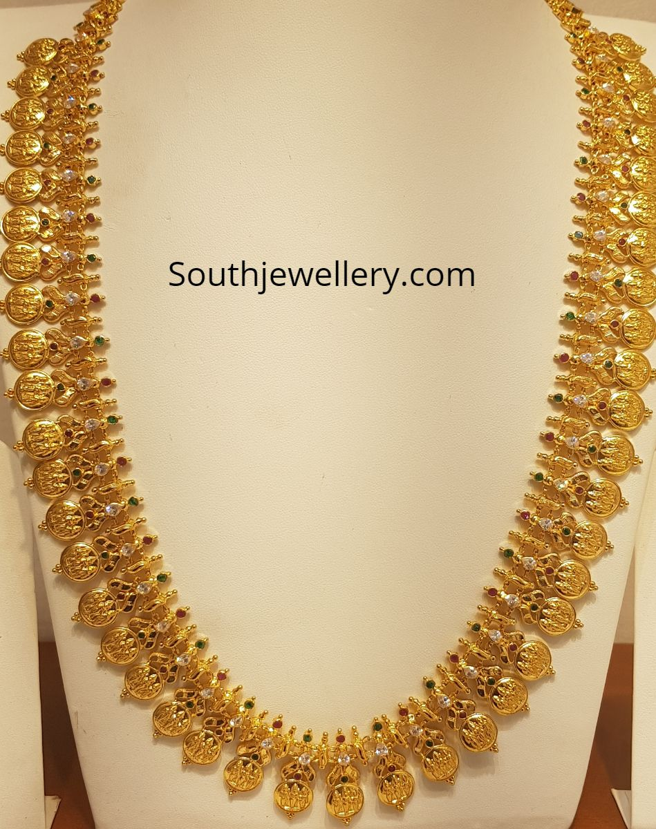 22 Carat Gold Antique Finish Ram Parivar Kasu Haram Studded With Cz Stones Emeralds Bridal Gold Jewellery Gold Jewellery Design Necklaces Gold Wedding Jewelry
