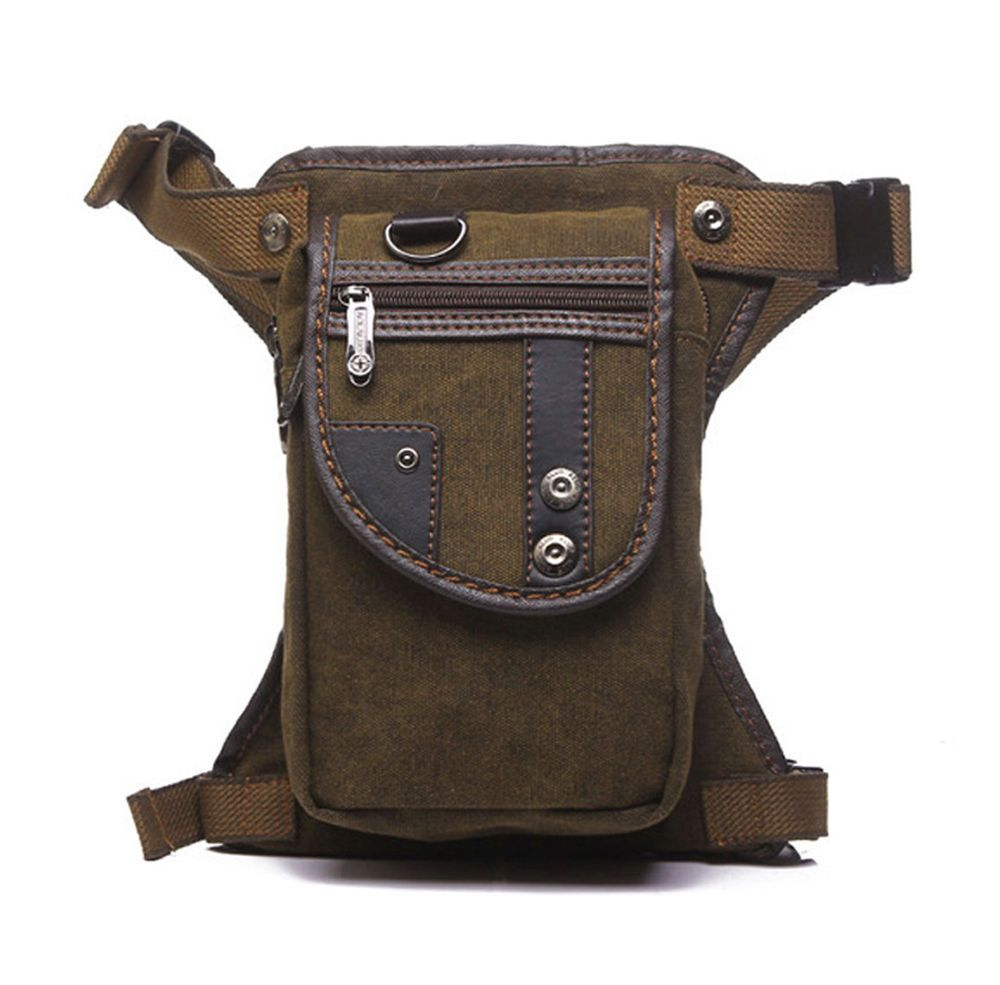 Men Fanny Pack Motorcycle Rider Tactical Military Belt Waist Canvas Hip Leg Bag