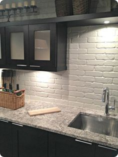 Painted Brick Backsplash Possible Faux Brick Panels Painted White