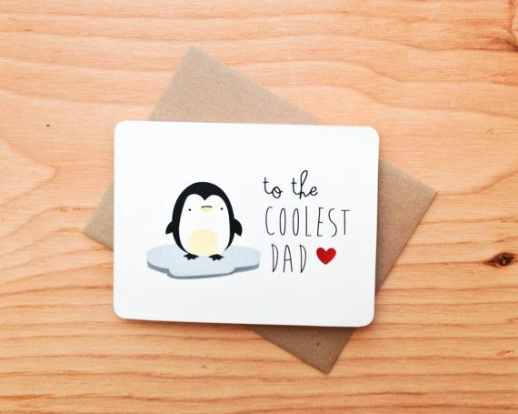 Father S Day Penguin Pun Greeting Card By Letrango On Etsy Must