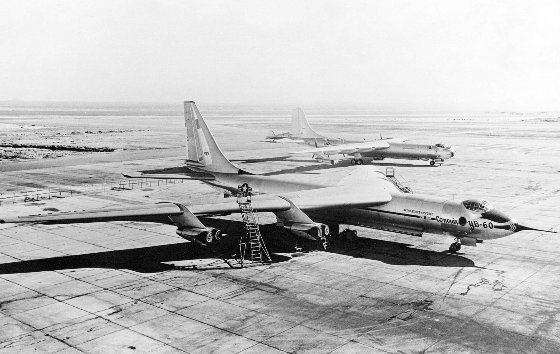 YB-60 prototype, Convair B-36F-5 is in the background