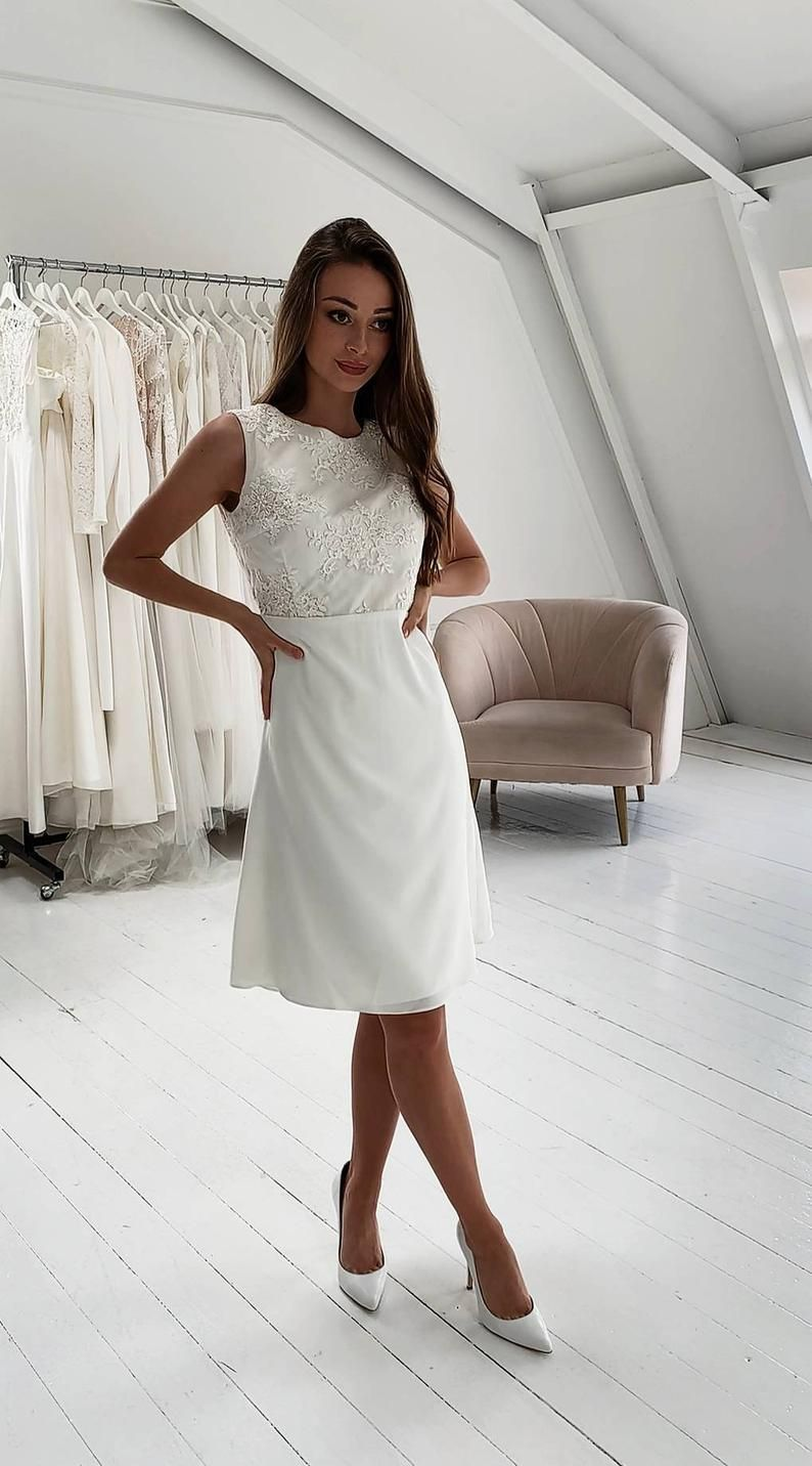 Ready To Ship S Size Dress Short Wedding Dress Etsy Simple Wedding Dress Short Wedding Dress Cap Sleeves Midi Wedding Dress [ 1432 x 794 Pixel ]