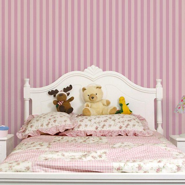 mustertapete f r kinderzimmer no yk45 streifen rosa streifentapete vliestapete quadrat. Black Bedroom Furniture Sets. Home Design Ideas