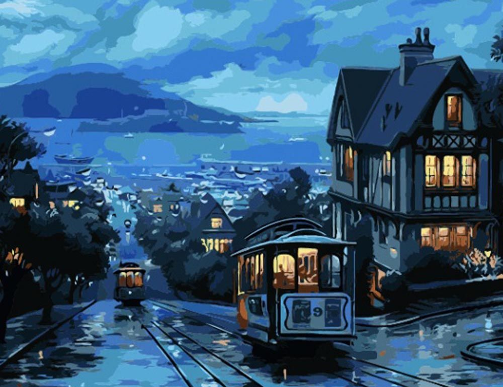 Картина по номерам «Ночной трамвай» CG416 Color KIT 40x50 ...
