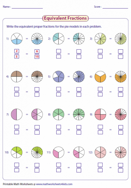 Equal Fractions Worksheet Fractions Worksheets Equivalent Fractions Fourth Grade Math