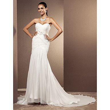 trompete / sereia namorada de varredura / escova treinar vestido de noiva chiffon – BRL R$ 303,61