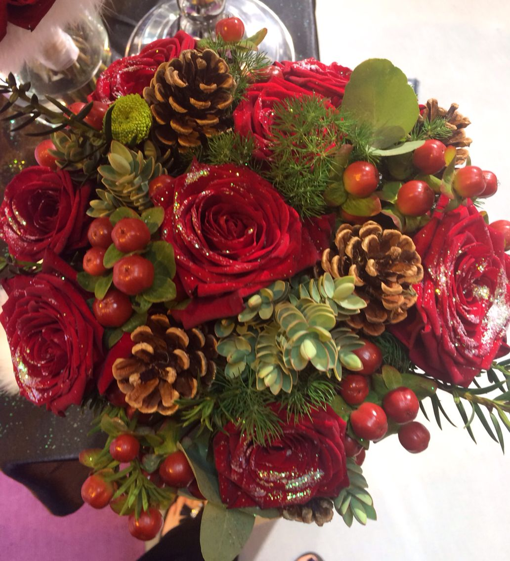 Christmas Wedding Flowers In A Brides Hand Tied Bouquet Of
