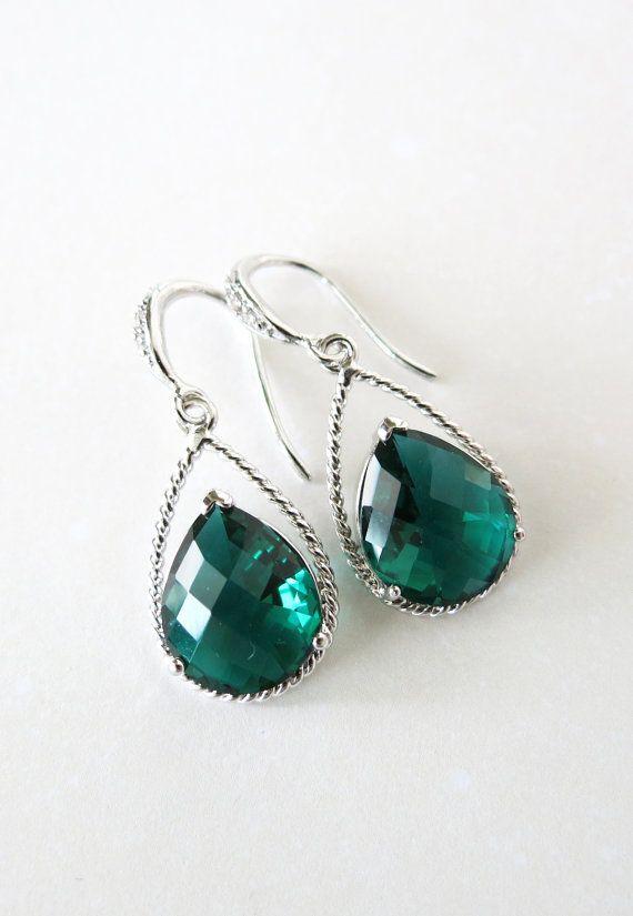 Pair of earrings silver aquamarine glass drops green