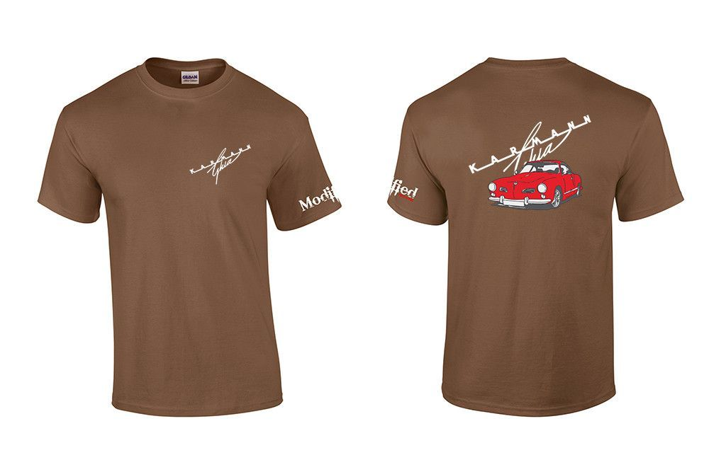 VW Karmann Ghia Logo Shirt. All shirts are 100% Preshrunk cotton with a  heat pressed digital printed image. Shirts are custom made to order. 374bed6e38a2