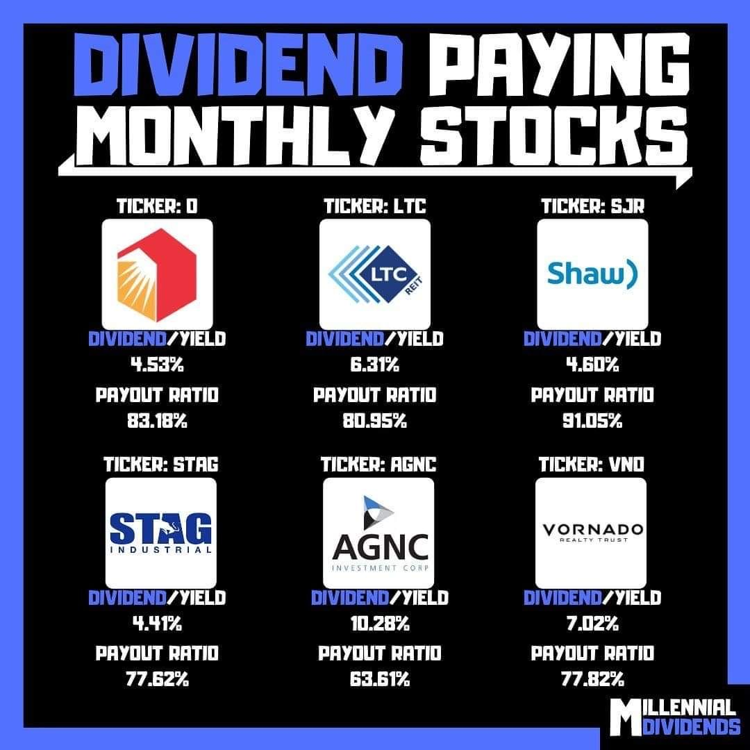 Dividend paying monthly stocks money management advice