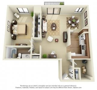 One Bedroom Deluxe 1 Bed 1 Bath House Floor Plans Apartment Home Interior Design