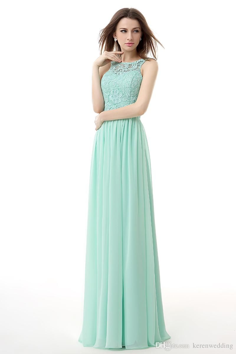 Cheap Sheer Neck Mint Green Bridesmaid Dresses 2015 Collection A ...