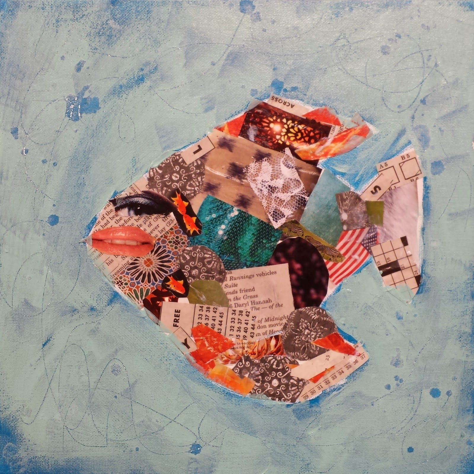 Angela Anderson Art Fish Collage Mixed Media