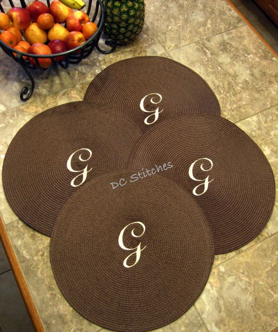 ROUND PLACEMATS set of four Personalized Monogrammed Customized