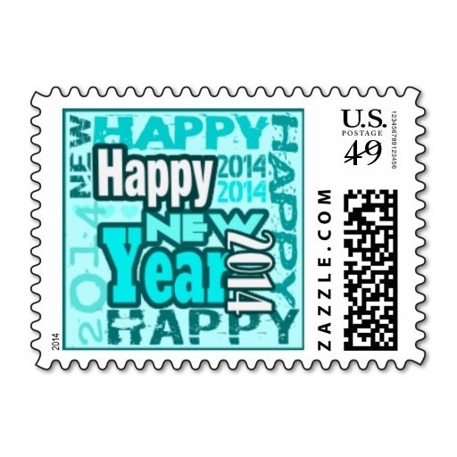 2014 Teal Happy New Year Small Postage. Wanna make each letter a special delivery? Try to customize this great stamp template and put a personal touch on the envelope. Just click the image to get started!