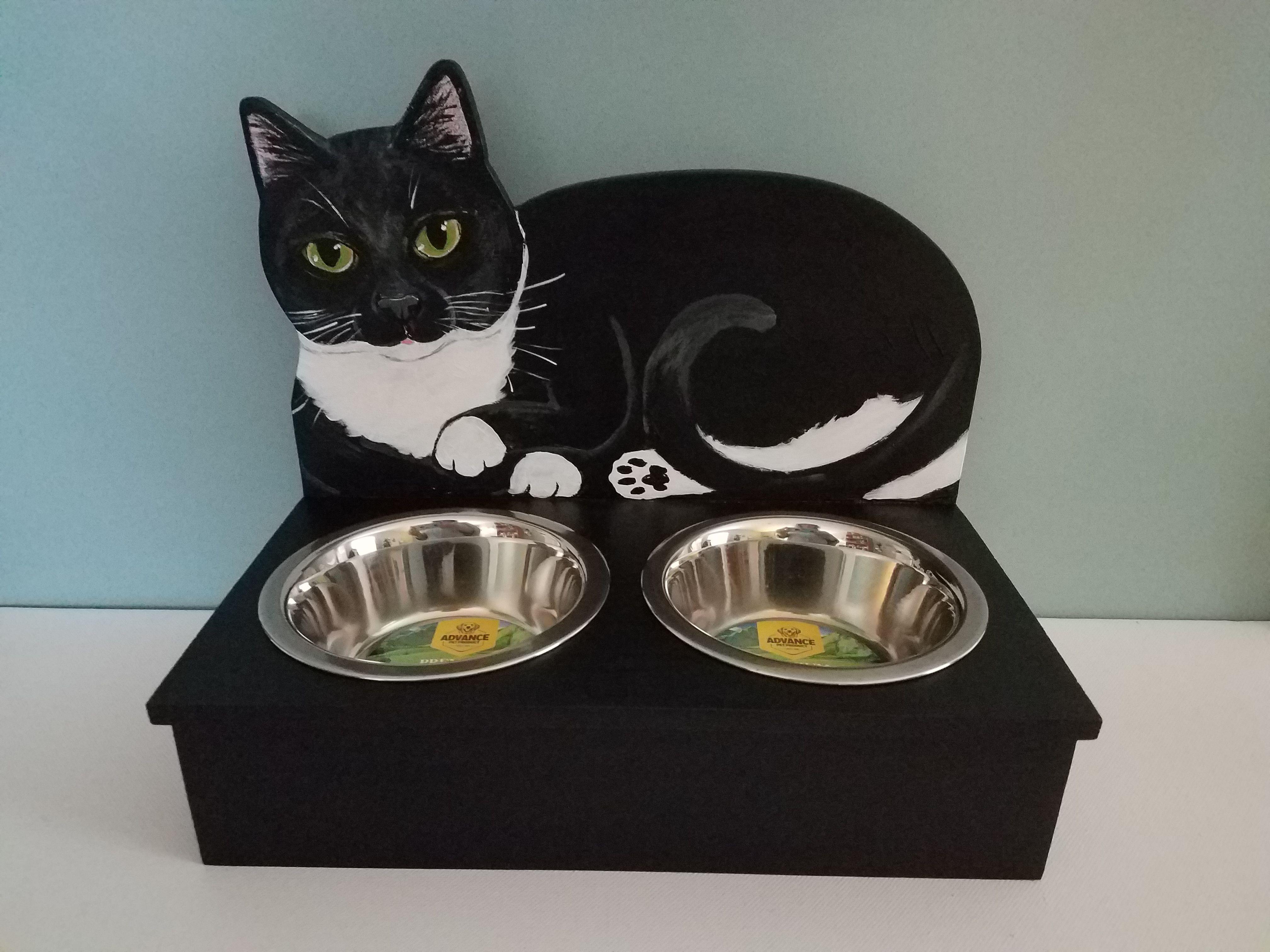 Tuxedo Cat Feeder Custom Of Your Cat Option Cat Memorial Gift Custom Cat Portrait Custom Cat