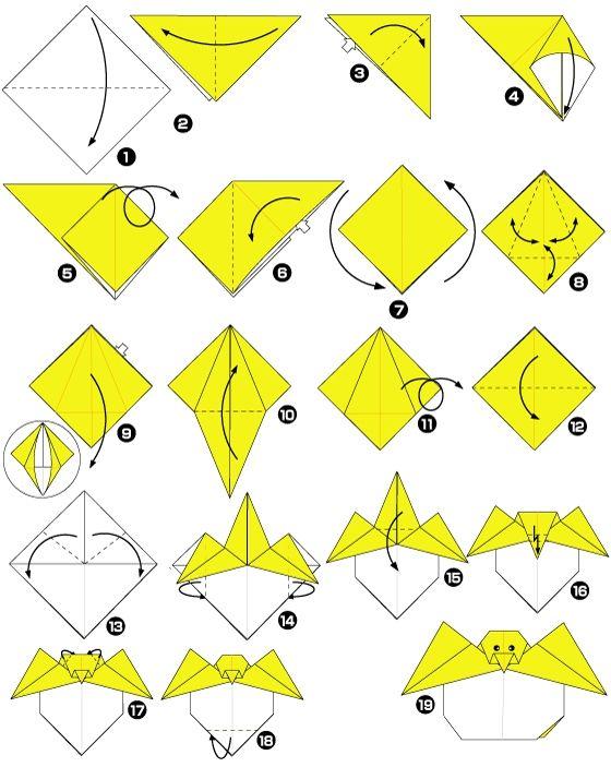 poussin sortant de l 39 uf en origami origami pinterest. Black Bedroom Furniture Sets. Home Design Ideas