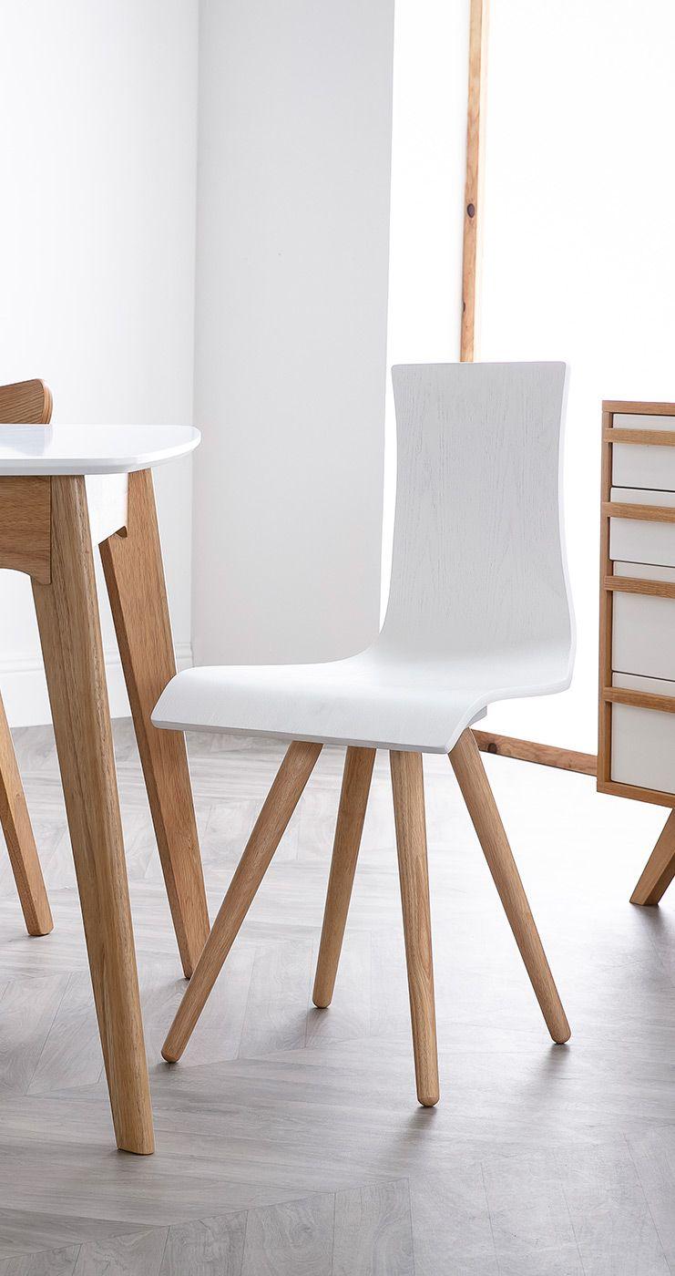 Chaises Design Bois Et Blanc Lot De 2 Baltik Miliboo En 2020 Chaise Design Mobilier De Salon Meuble Design