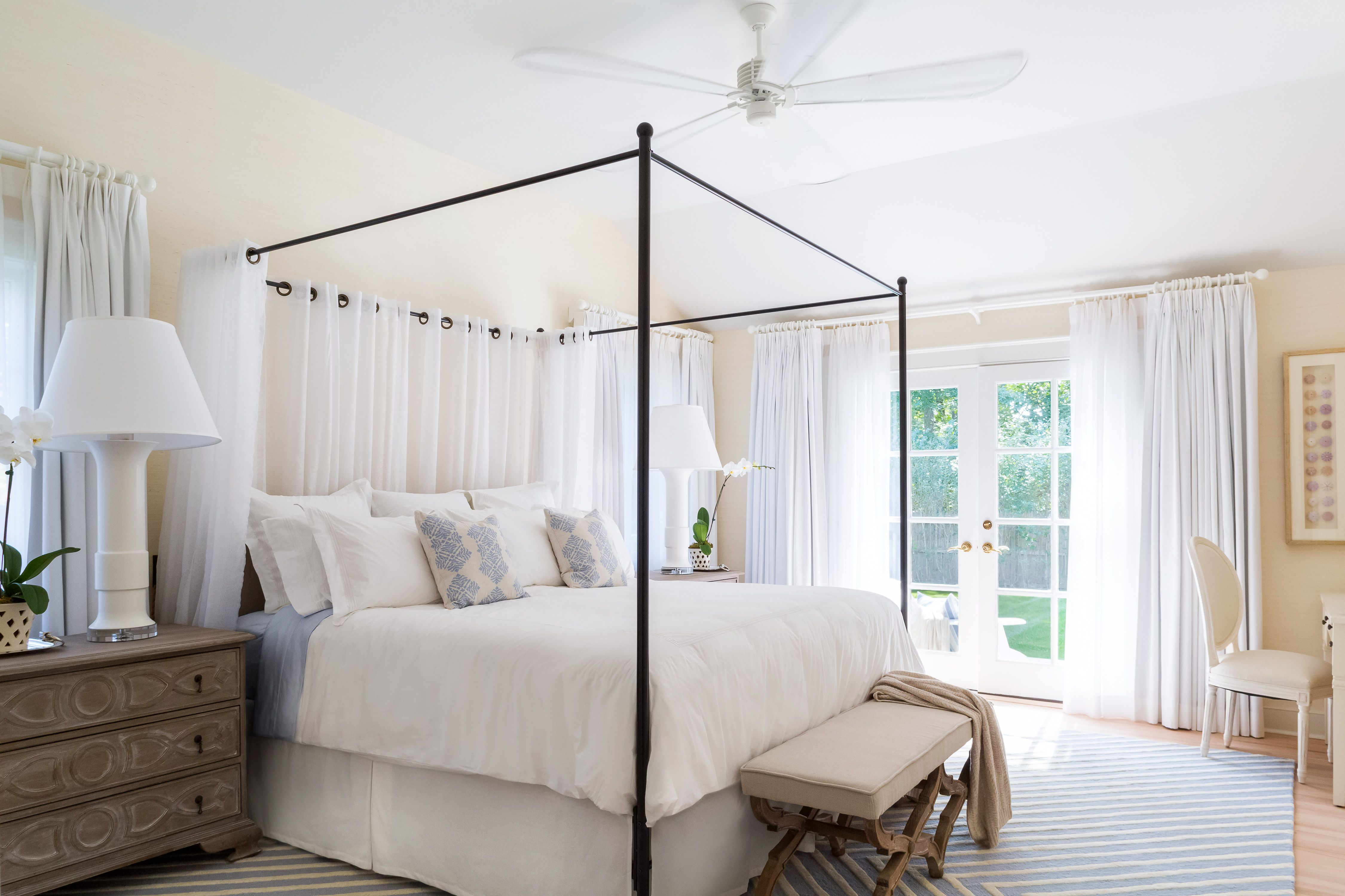 Bedrooms East Hampton Beach Cottage -- Iron Canopy Bed
