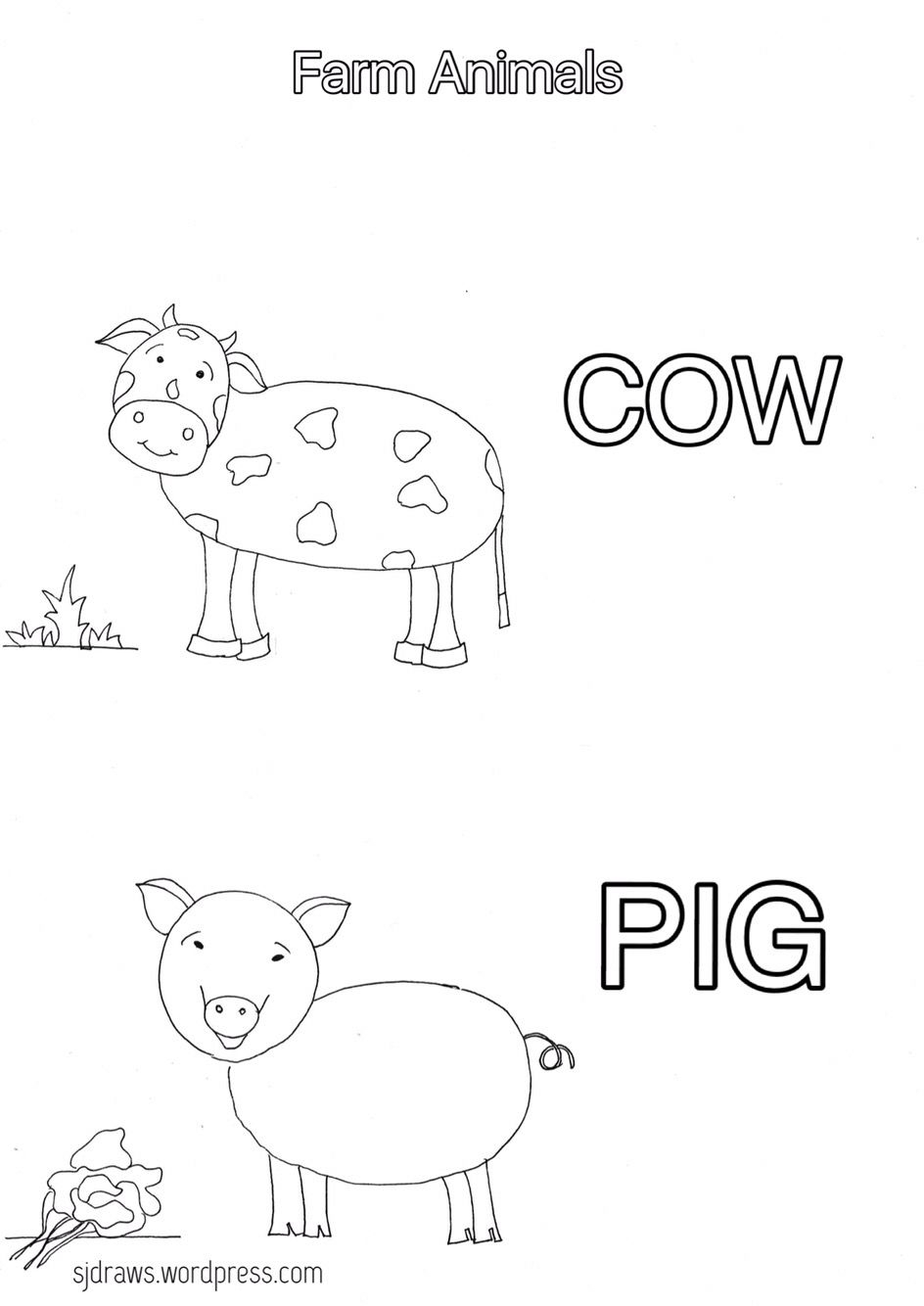 Coloring pages- Farm animals- cow, pig | Coloring pages | Pinterest ...