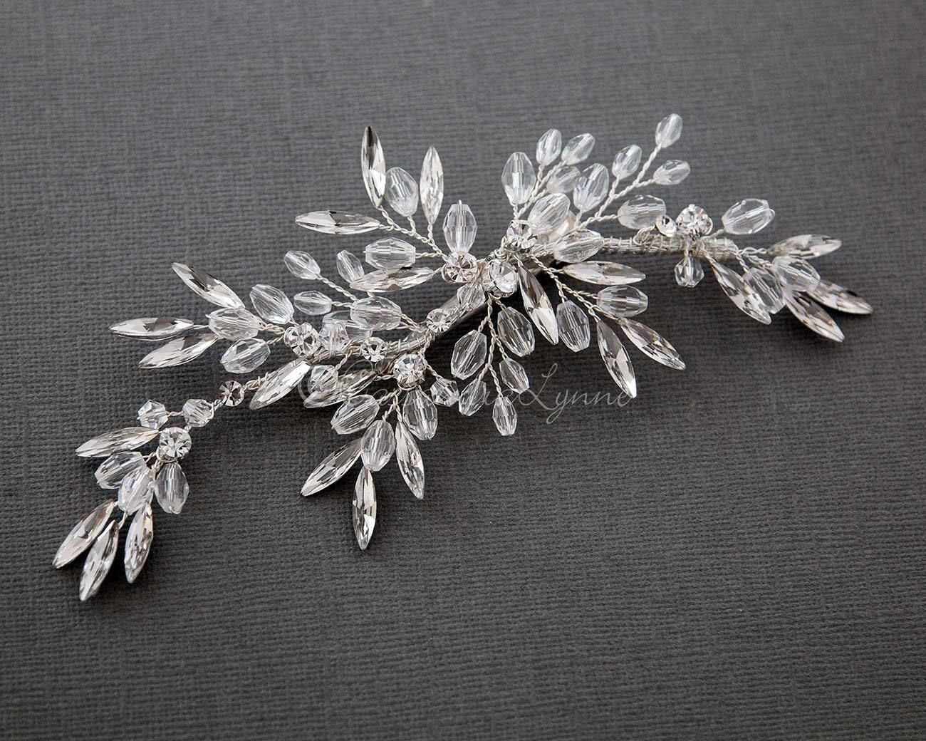 bridal hair piece of elongated marquise crystals | shiny