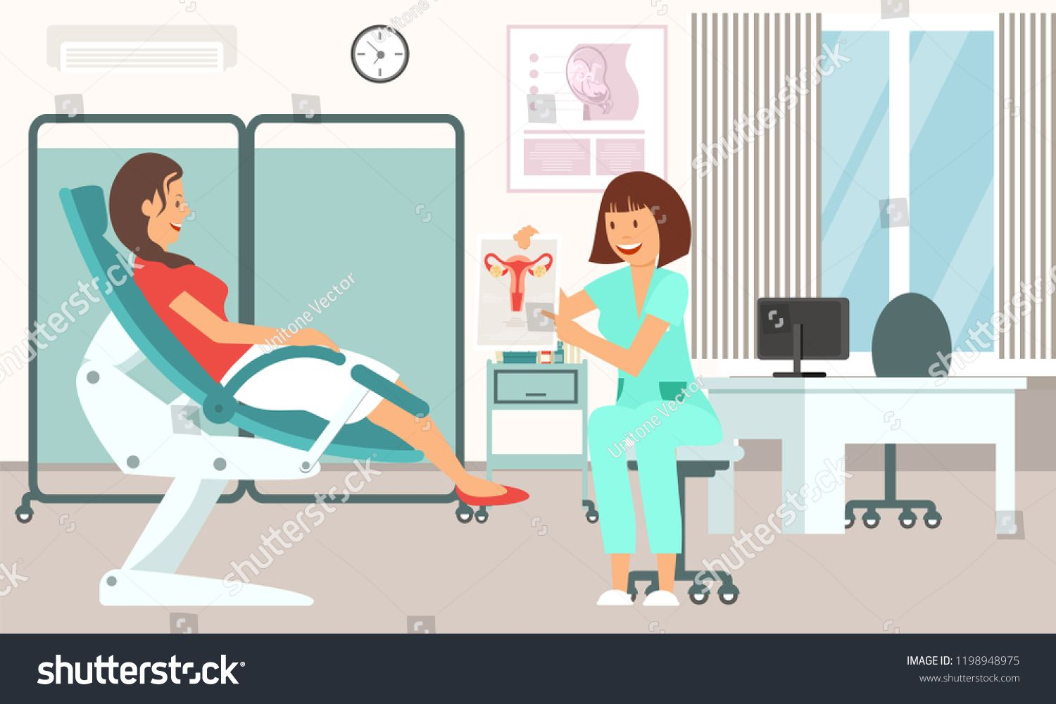 Gynecologist Consultation. Medical Health care Set. Doctor