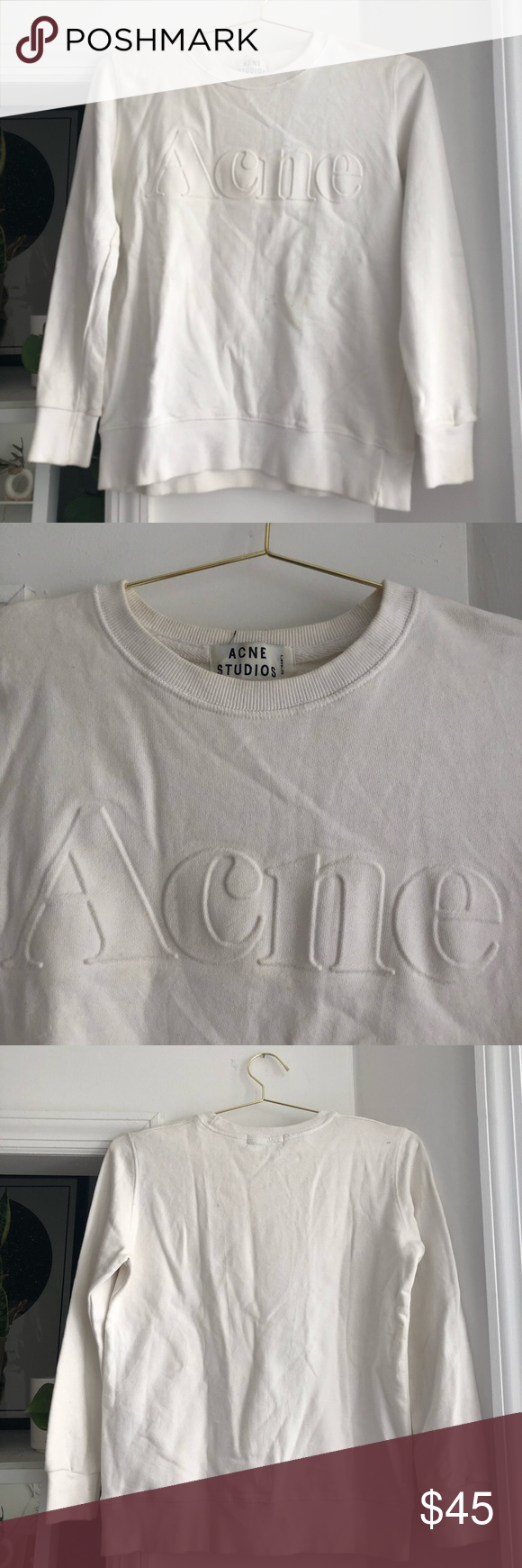 Acne Spell Out White Pullover Sweatshirt Sweatshirts Pullover Sweatshirt White Pullovers [ 1740 x 580 Pixel ]