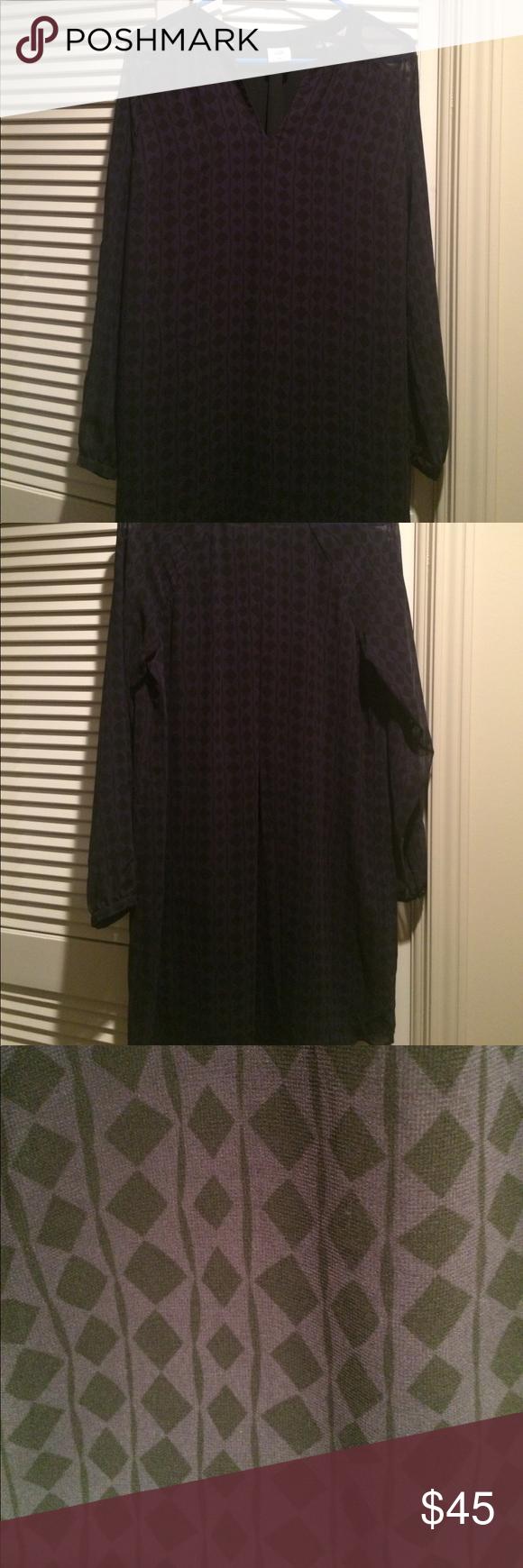 Cabi dress purple with black diamond print long sleeved cabi dress