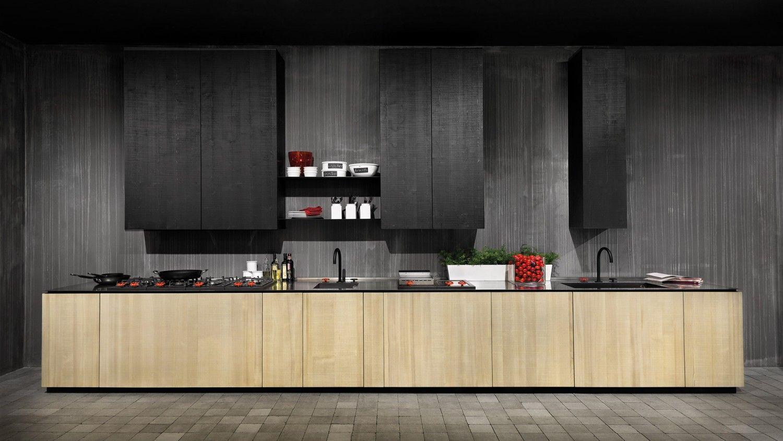 Cucina a parete collezione natural skin in legno termotrattato