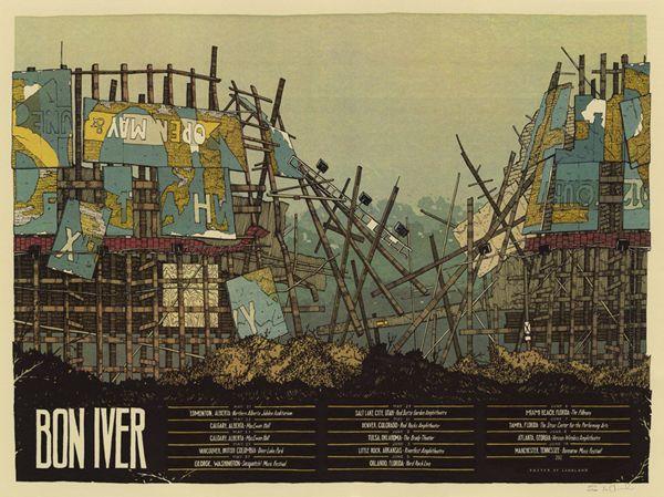 Bon Iver tour poster by Landland