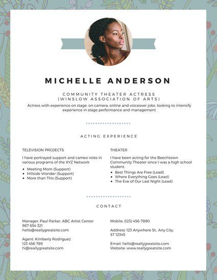 White Blue Simple Theatre Resume Mina Pinterest - theatre resume