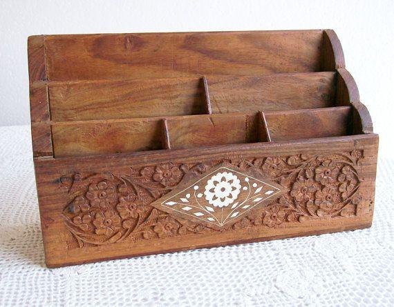 Vintage Carved Wood Desk Organizer Letter Holder Made In India Bone Inlay Boho Hippie 1970 S Desk Organization Wood Desk Carving