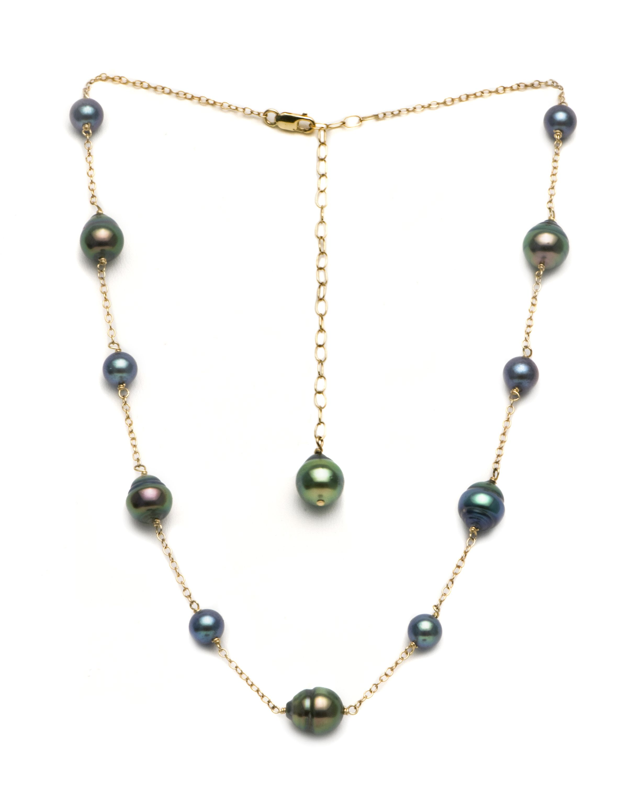 74699a82ec7c5a Black Tahitian Baroque and Black Freshwater Pearl Tin Cup Necklace by  PurePearls.com