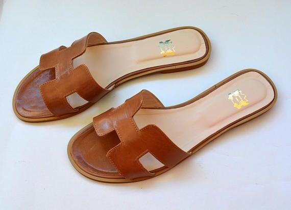 00835df8786a Brown Hermes Leather Sandals Brown H Slides Greek Leather