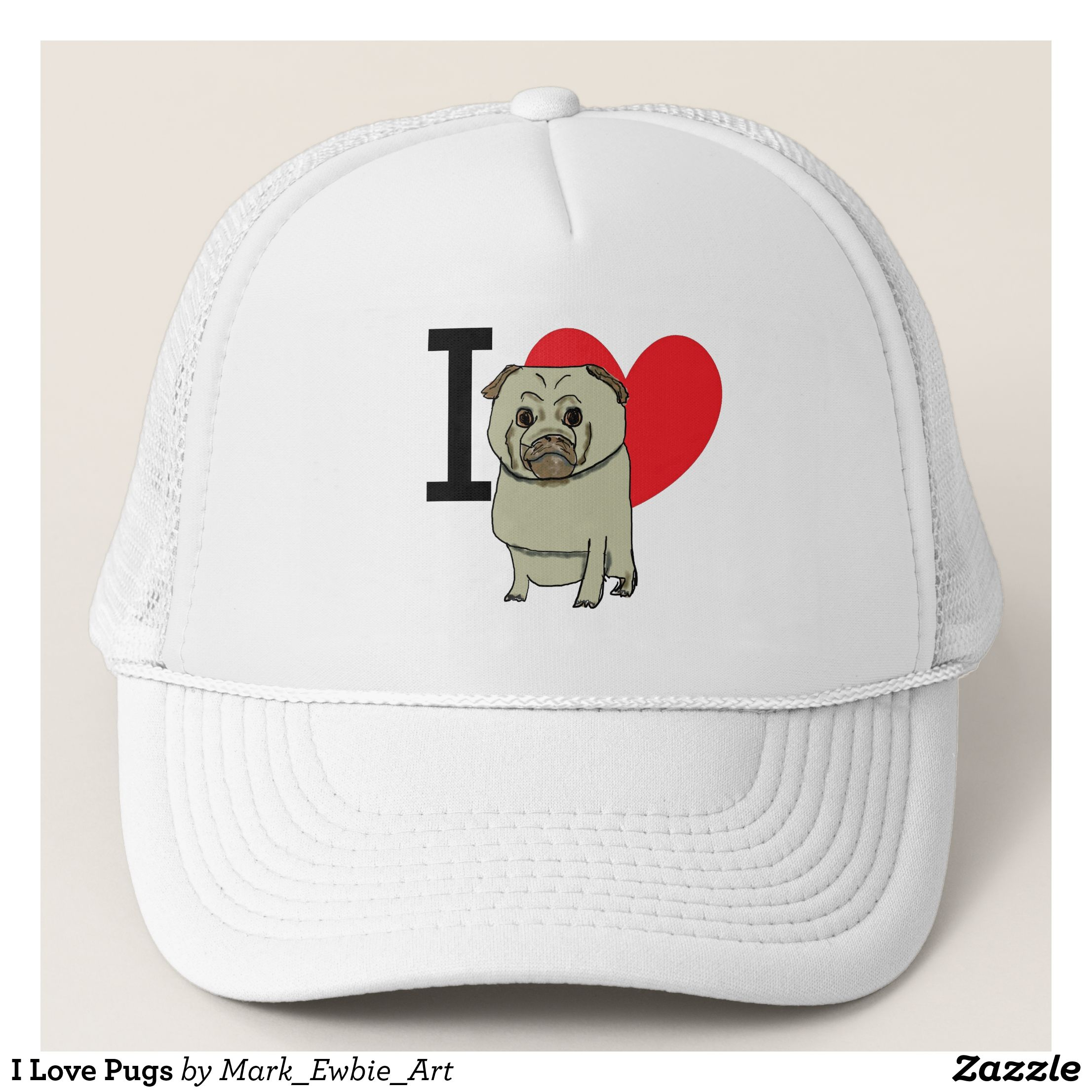 I Love Pugs Trucker Hat - Urban Hunter Fisher Farmer Redneck Hats By  Talented Fashion And Graphic Designers -  hats  truckerhat  mensfashion   apparel ... f5972cb56f5
