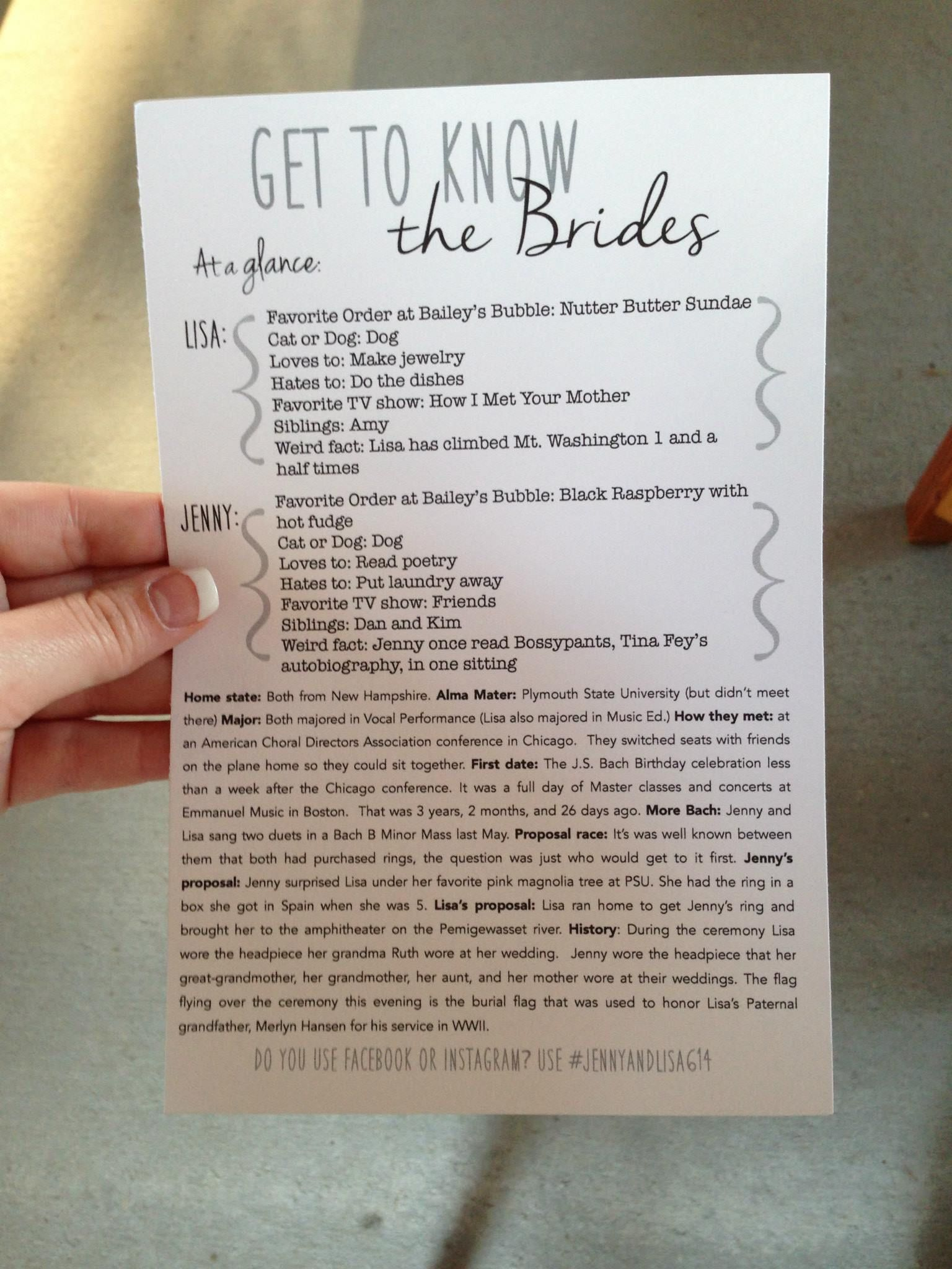 Get to Know the Brides! lesbian wedding 2brides