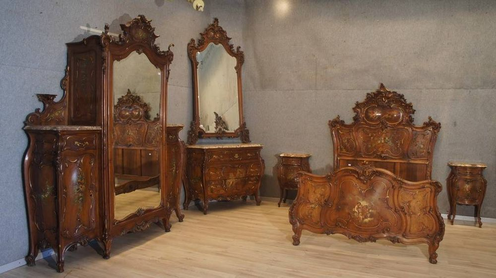 Museum italian antique painted wonderful walnut castle bedroom set - Italian Bedroom Sets