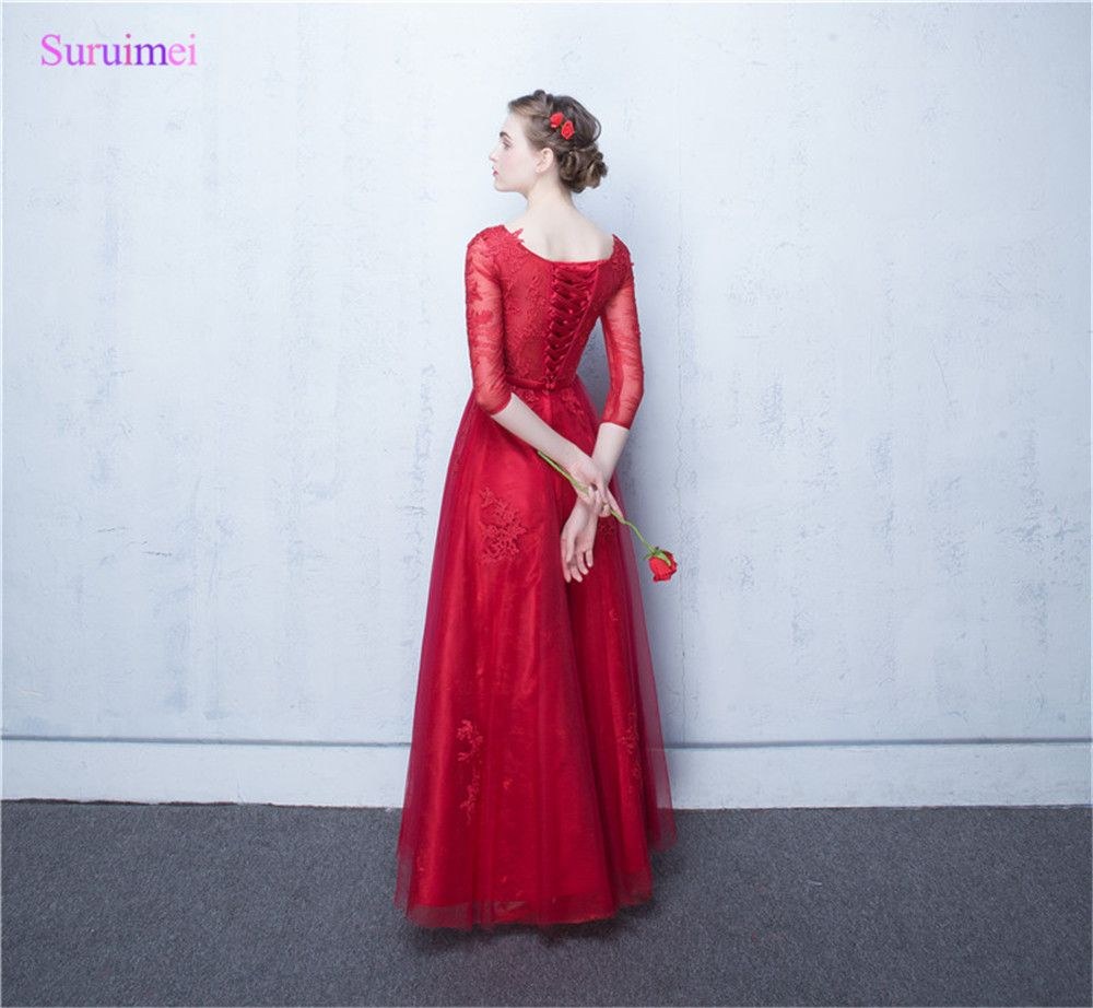 Half sleeves bridesmaid dresses tulle lace applique sash lace up